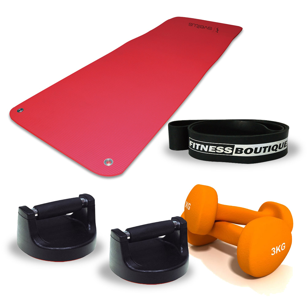 Fitnessboutique Pack Elastiband, Par de Halteres 3 kg, Tapete de fitness e Push up